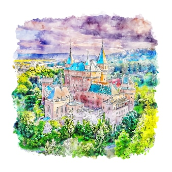 Zamek bojnice francja szkic akwarela ręcznie rysowane ilustracji