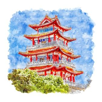 Zamek chiny akwarela szkic ręcznie rysowane ilustracji