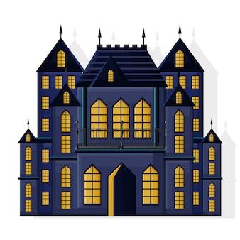 Zamek ciemnego koloru halloween z żółtymi światłami