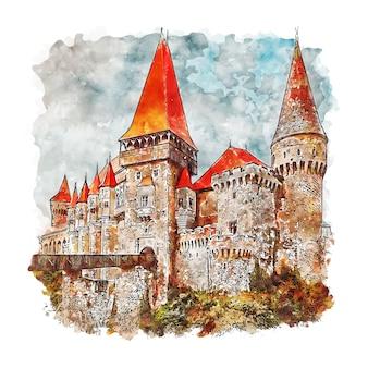 Zamek corvinior rumunia szkic akwarela