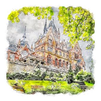 Zamek drachenburg niemcy akwarela szkic ręcznie rysowane ilustracja
