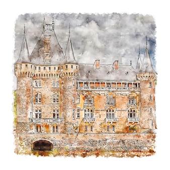 Zamek francja szkic akwarela ręcznie rysowane ilustracji