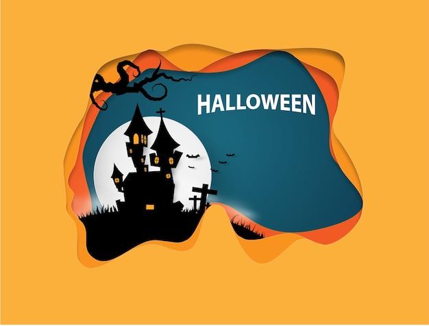 Zamek halloween transparent tło. wycinanka