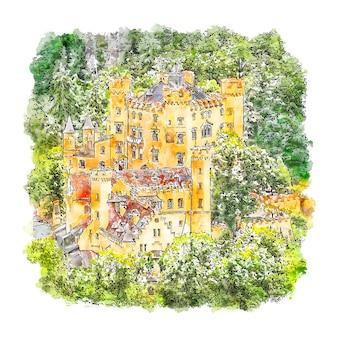 Zamek hohenschwangau, niemcy szkic akwarela ręcznie rysowane ilustracji