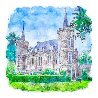Zamek holandia akwarela szkic ręcznie rysowane ilustracja