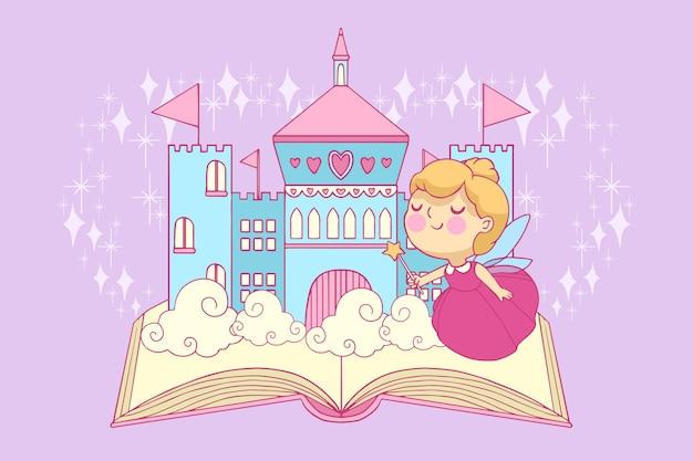 Zamek i księżniczka na bajkową koncepcję