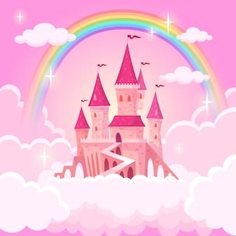 Zamek księżniczki. fantazja latający pałac w różowych magicznych chmurach. bajkowy królewski średniowieczny niebiański pałac. ilustracja kreskówka