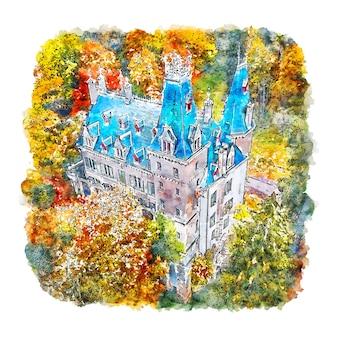 Zamek luksemburski francja szkic akwarela ręcznie rysowane ilustracji