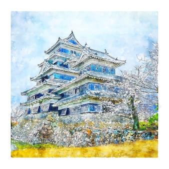 Zamek matsumoto w japonii szkic akwarela ilustracja