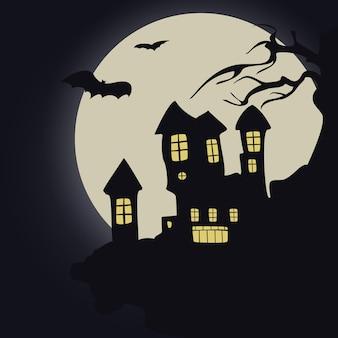Zamek na tle pełni księżyca, nietoperzy, halloween