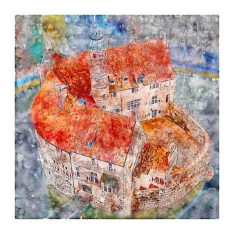 Zamek niemcy szkic akwarela ręcznie rysowane ilustracji