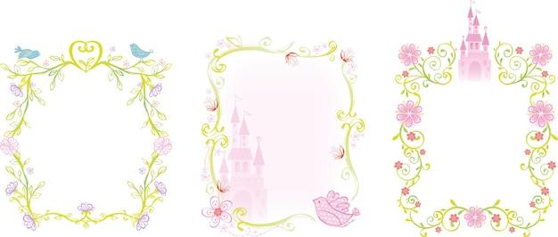 Zamek pałacowy i ilustracja ramek kwiatowych do bajkowego projektu księżniczki