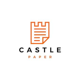 Zamek papieru logo wektor ikona ilustracja