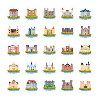 Zamek płaskie wektorowe ikony