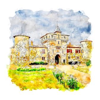 Zamek rodan-alpy francja szkic akwarela ręcznie rysowane ilustracji