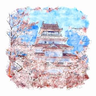 Zamek w japonii szkic akwarela ilustracja