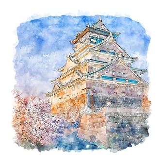 Zamek w osace, japonia, szkic akwarela ilustracja