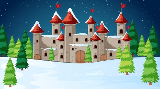 Zamek w scenie śniegu