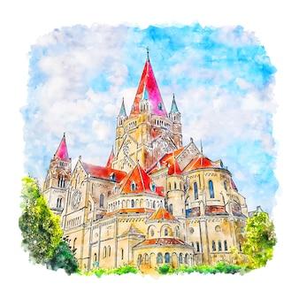 Zamek wiedeński austria szkic akwarela ręcznie rysowane ilustracji