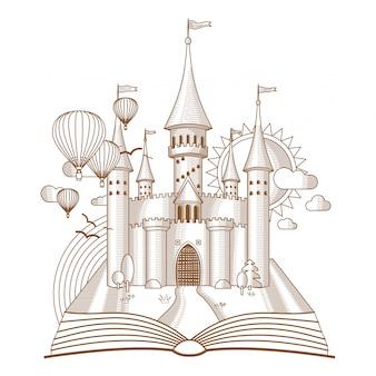 Zamek wróżek pojawiający się ze starej książki mono-line art