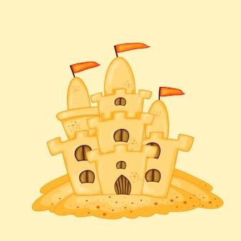 Zamek z piasku. kreskówka lato