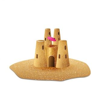 Zamek z piasku na białym tle