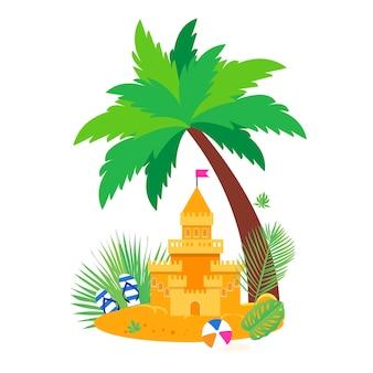 Zamek z piasku na ilustracji plaży nad morzem