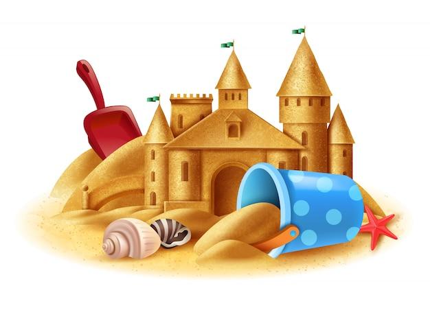 Zamek z piasku realistyczne tło