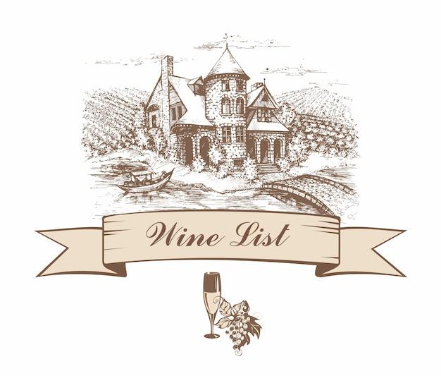 Zamek z polami winogron