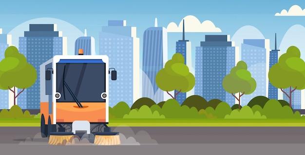 Zamiatarka uliczna ciężarówka czyszczenie maszyny proces pojazd przemysłowy miejski droga usługi koncepcja nowoczesne gród tło poziome mieszkanie