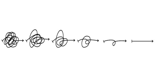 Zamieszanie jasności lub koncepcja pomysł wektor ścieżki. uproszczenie kompleksu. niechlujna linia jak twardy i łatwy sposób. ilustracja wektorowa zbiory.