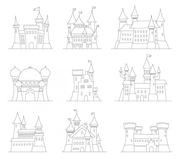 Zamki i twierdze płaska konstrukcja wektorowe ikony
