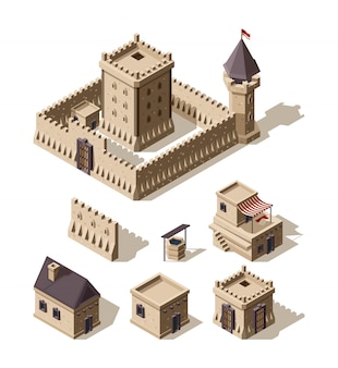 Zamki izometryczne. średniowieczna historyczna architektura kreskówka budynki starożytne wiejskie domy zamki
