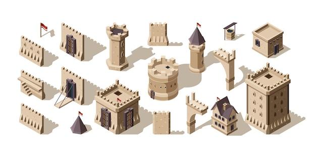 Zamki izometryczne. średniowieczne budynki ceglane ściany dla low poly game asset stary zestaw fortów.
