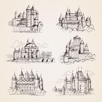 Zamki średniowieczne. stare budynki wieża zabytkowa architektura starożytne gotyckie zamki ręcznie rysowane ilustracje. wieża miejska, budynek turystyczny, słynny zamek