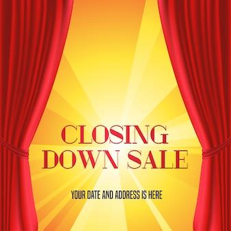 Zamknięcie sklepu z ilustracją czerwonej kurtyny