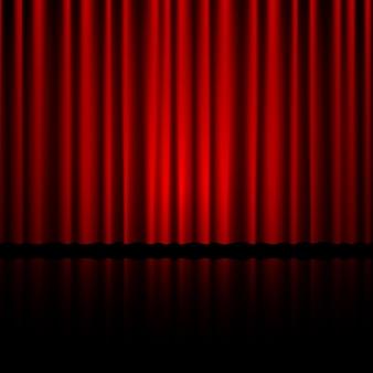 Zamknięta Czerwona Kurtyna Teatralna Premium Wektorów