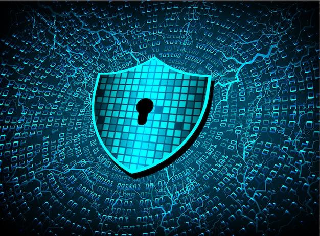 Zamknięta kłódka na cyfrowym tle, cyber ochrona