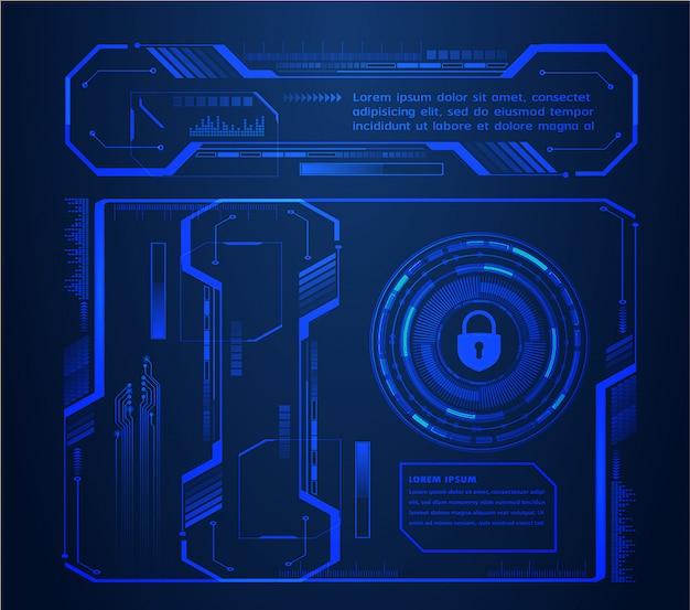 Zamknięta kłódka na tle cyfrowym, bezpieczeństwo cybernetyczne hud