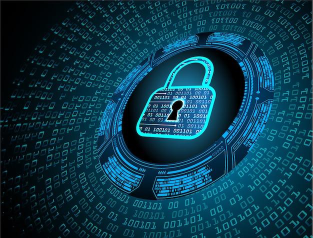Zamknięta Kłódka Na Tle Cyfrowym, Bezpieczeństwo Cybernetyczne Premium Wektorów