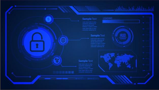 Zamknięta kłódka na tle cyfrowym, światowe bezpieczeństwo cybernetyczne hud