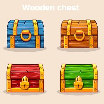 Zamknięta kolorowa drewniana skrzynia skarbów