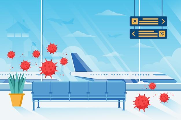 Zamknięta pandemia wirusa koronawirusa na lotnisku