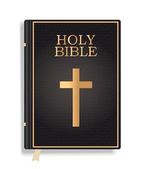 Zamknięta świętej biblii książka odizolowywająca na białym tle.