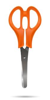 Zamknięte nożyczki biurowe z plastikowymi pomarańczowymi uchwytami na białym tle na białym tle. realistyczna ilustracja wektorowa