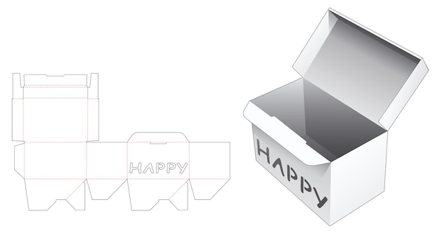 Zamknięte pudełko z szablonem wycinanym szablonem happy word