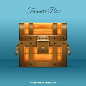 Zamknięte pudełko ze skarbami w realistycznym stylu
