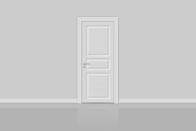 Zamknięte realistyczne drzwi na białym tle