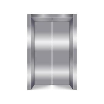 Zamknięty winda na białym tle