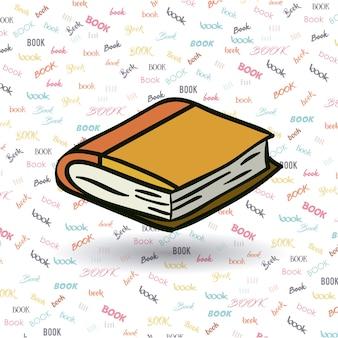 Zamknij ikonę książki. Czytanie z literatury edukacyjnej i temat biblioteki. Izolowany projekt. Tło słów.